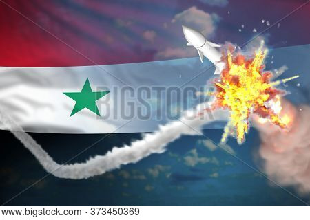Strategic Rocket Destroyed In Air, Syrian Arab Republic Ballistic Missile Protection Concept - Missi