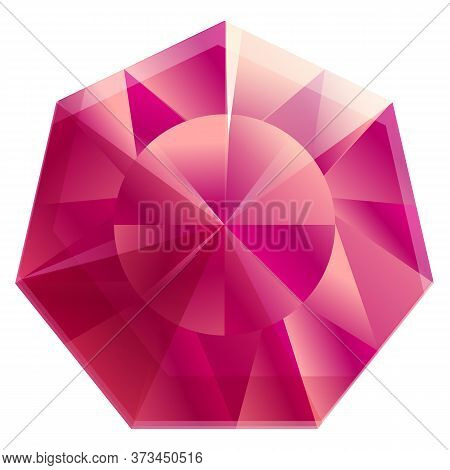 Pink Ruby Icon. Cartoon Of Pink Ruby Vector Icon For Web Design Isolated On White Background