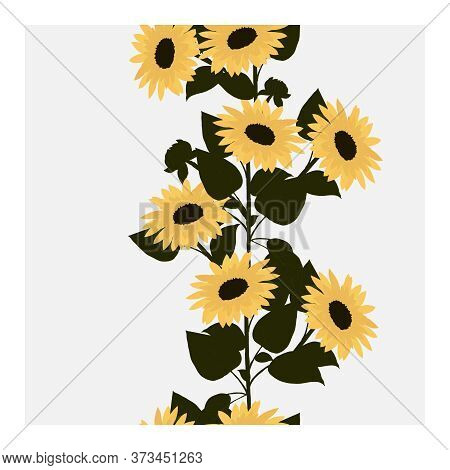 Seamless Pattern With Yellow Sunflowers And Green Leaves. Pattern With Sunflowers. Floral Pattern. S