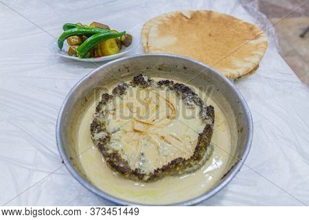 Kofta Tahini Meal In A Restaurant In Amman, Jordan