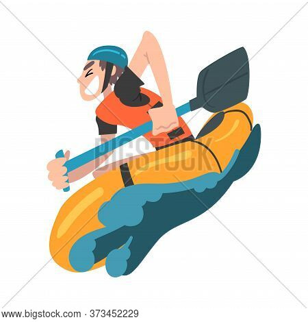 Man Rafting On Mountain River In Inflatable Boat, Extreme Hobby Or Sport, Tourism And Recreational A