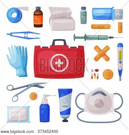 First Aid Kit Box With Medical Equipment And Medications For Emergency Service, Bandage, Gloves, Tub