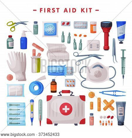 First Aid Kit, Medical Emergency Box Equipment And Medications, Flashlight, Gloves, Tube Of Ointment