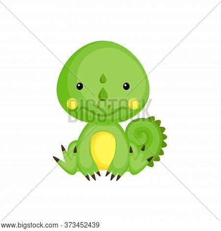 Cute Baby Iguana Sitting Isolated On White Background. Adorable Animal Character For Design Of Album
