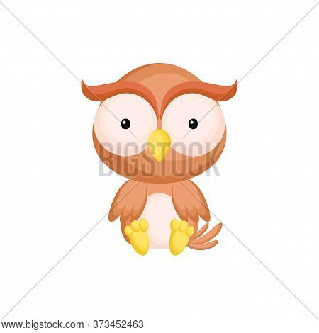 Cute Baby Owl Sitting Isolated On White Background. Adorable Animal Character For Design Of Album, S