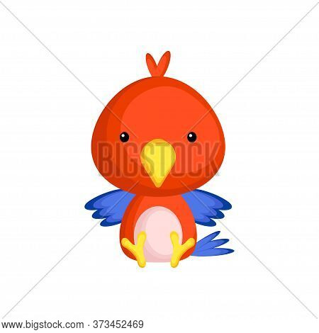 Cute Baby Parrot Sitting Isolated On White Background. Adorable Animal Character For Design Of Album