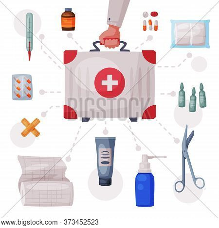 Doctors Hand Holding First Aid Kit Box With Medical Equipment And Medications, Tube Of Ointment, The