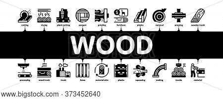 Wood Production Plant Minimal Infographic Web Banner Vector. Wood Sawmill And Forestry Equipment, Ti