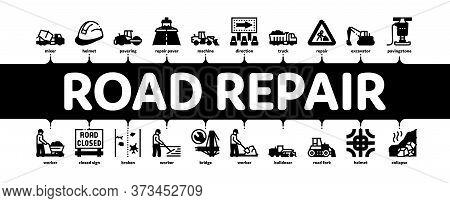 Road Repair And Construction Minimal Infographic Web Banner Vector. Road Repair And Maintenance Equi