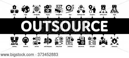 Outsource Management Minimal Infographic Web Banner Vector. Outsource Team And World Business Proces