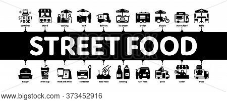 Street Food And Drink Minimal Infographic Web Banner Vector. Food Truck And Bicycle, Cart And Stand,