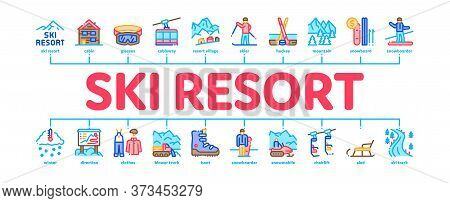 Ski Resort Vacation Minimal Infographic Web Banner Vector. Ski Snow Track And Shoe, Protective Glass