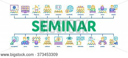 Seminar Conference Minimal Infographic Web Banner Vector. Seminar In Meeting Room, Online Communicat