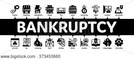 Bankruptcy Business Minimal Infographic Web Banner Vector. Bankruptcy Shop And Company, Closed Offic