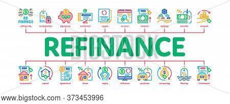 Refinance Financial Minimal Infographic Web Banner Vector. Mortgage And Credit Car, Debt Obligation