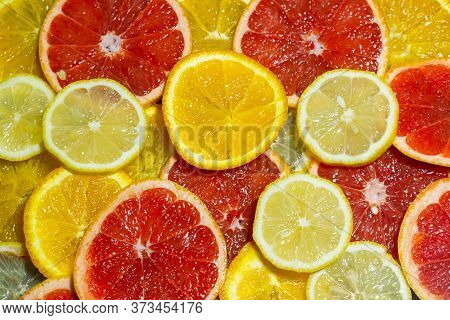 Citrus Fruit Background, Citrus Fruit Slices, Background Of Colorful Citrus Fruits