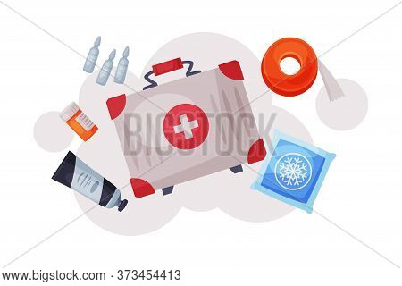 First Aid Kit With Medications And Emergency Equipment Set, Urgency Medical Service Supplies Flat Ve