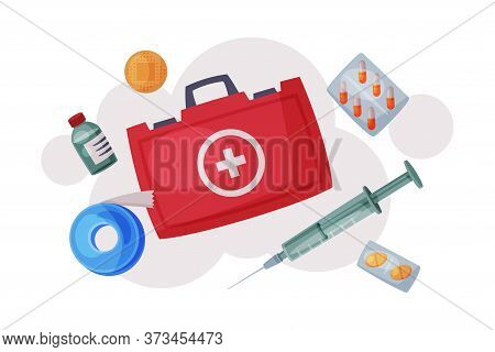 First Aid Kit With Medications And Emergency Equipment Set, Urgency Service Supplies For Health Trea
