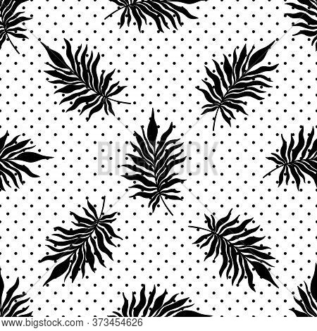 Seamless Pattern Tropical Plant.botanical Floral Background.design For Home Decor, Fabric, Carpet, W