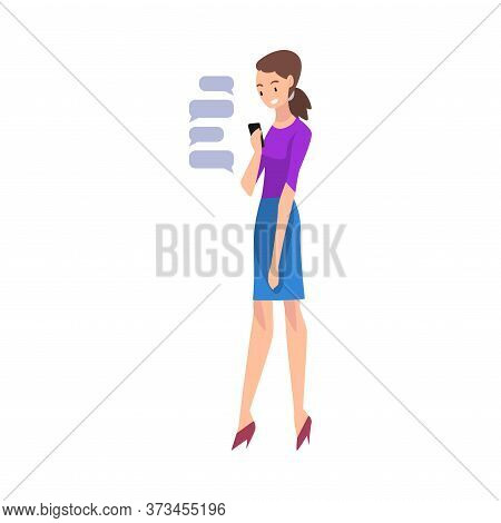 Girl Hatting Via Internet Using Smartphone, Young Woman Using Digital Gadget Vector Illustration