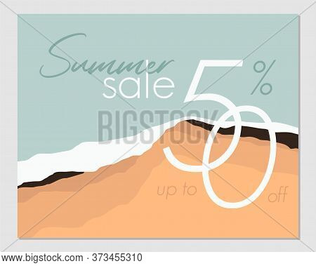 Template For A Summer Sale Banner. Summer Abstract Geometric Background, Sea And Beach. Tropical Bac