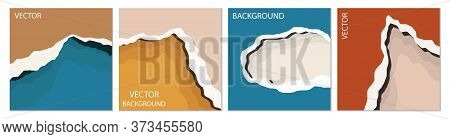 Abstract Background In The Style Of A Paper Cut. Set Of Four Square Backgrounds. Abstract Layouts Fo
