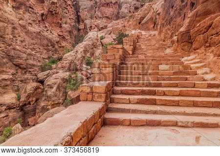 Stairway At Al Khubtha Trail In The Ancient City Petra, Jordan