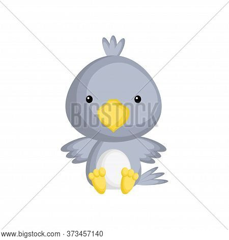 Cute Baby Raven Sitting Isolated On White Background. Adorable Animal Character For Design Of Album,