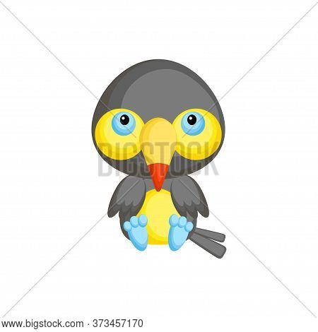 Cute Baby Toucan Sitting Isolated On White Background. Adorable Animal Character For Design Of Album