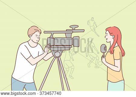 News, Reportage, Journalism, Sport Concept. Young Team Woman Reporter Journalist Man Operator Cartoo