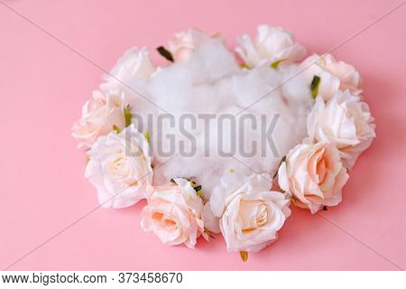 Close Up View Of A Flower Nest For Newborn Photography, Perfect For Side Pose.