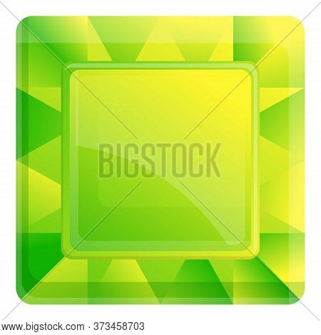 Green Topaz Icon. Cartoon Of Green Topaz Vector Icon For Web Design Isolated On White Background