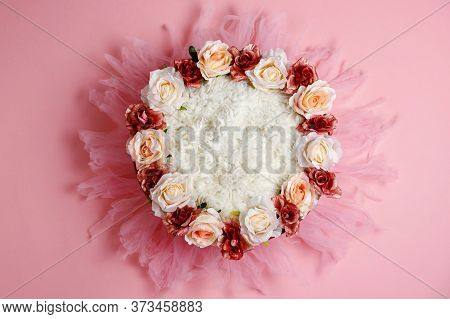 Pink Digital Newborn Background With Flowers. Close Up View, Professional Photoshoot.