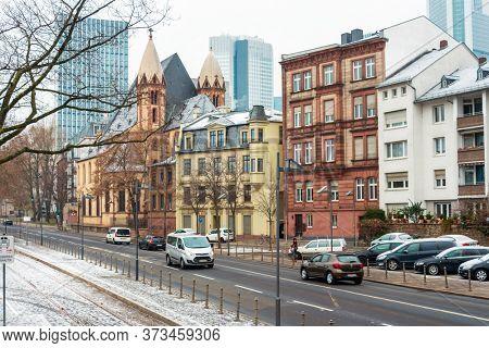Frankfurt, Germany - January 22, 2019: Street view of Downtown Frankfurt, Germany.