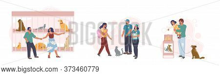 Animal Shelter Set, Vector Flat Isolated Illustration