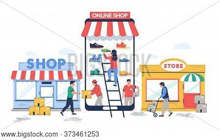 Online To Offline Commerce, Vector Flat Illustration