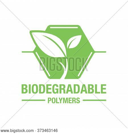 Biodegradable Polymers Icon - Green Emblem With Plastic Polymer Molecule And Plant Leaf Inside - Eco