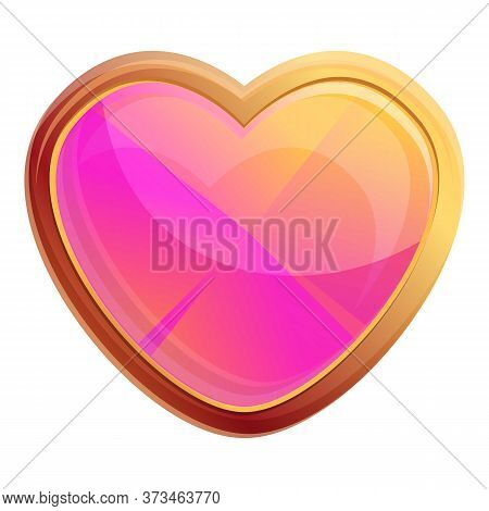 Cute Heart Gem Icon. Cartoon Of Cute Heart Gem Vector Icon For Web Design Isolated On White Backgrou