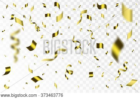 Confetti On Transparent Background. Falling Shiny Gold Confetti. Bright Golden Festive Tinsel.  Fest