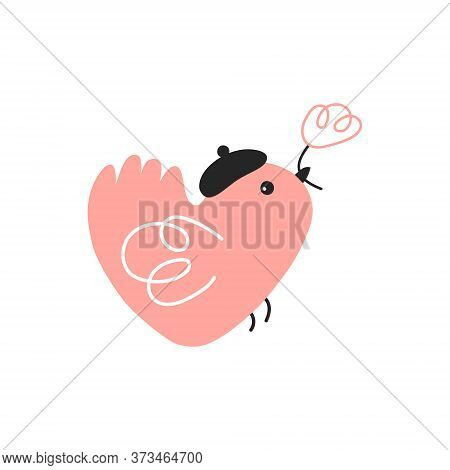 Cute Bird With A Flower In Its Beak. Simple Flat Vector Illustration. Pink Bird On A White Backgroun