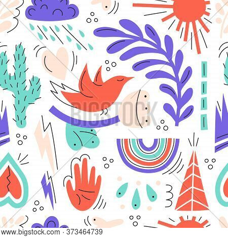 Seamless Illustration With Various Elements.flowers, Rainbow, Hearts.cute Illustration With Doodle E