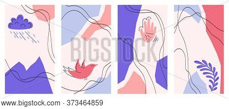 A Set Of Abstract Rectangular Backgrounds. Hand-drawn Illustrations. Templates For Social Networks.