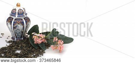 Spilled Tea, Porcelain Japanese Vessel And Flowering Branch Isolated On White Background