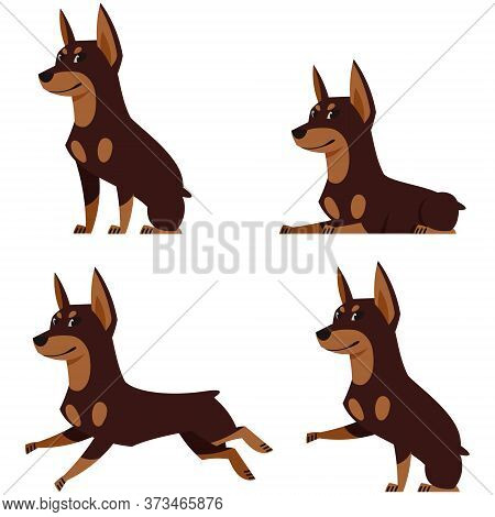 Doberman In Different Poses. Beautiful Dog In Cartoon Style.