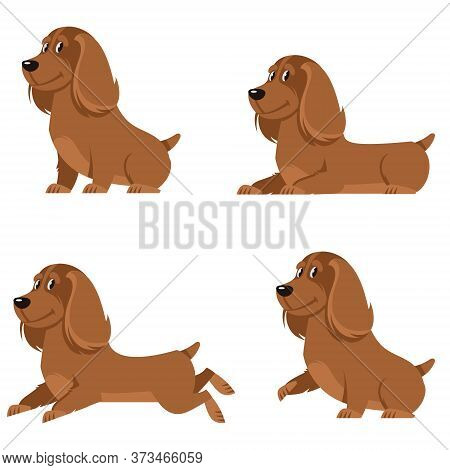 Cocker Spaniel In Different Poses. Cute Dog In Cartoon Style.