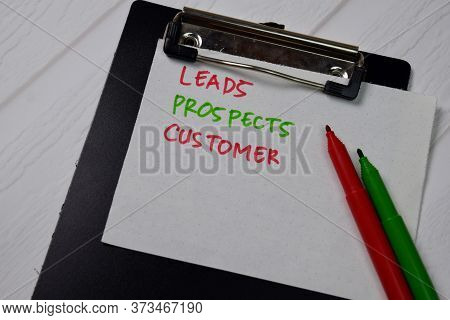 Leads, Prospects, Customer Text On Sticky Notes Isolated On Office Desk