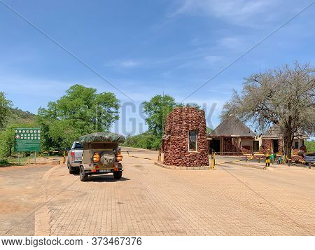 Punda Maria Gate, Kruger National Park, South Africa, December 14, 2019: Vehicles waiting to enter Kruger National Park at Punda Maria Gate in the north of the park. Kruger is a Big Five game reserve and one of the most popular tourist attractions.