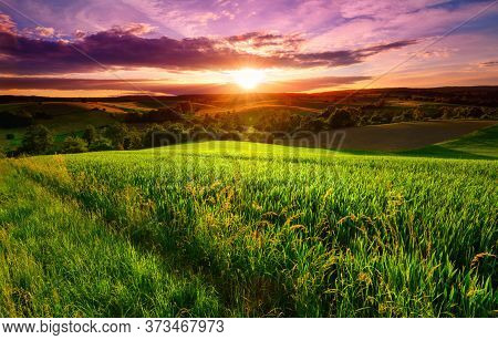 Sunset Scenery On A Green Field With Forests And Hills On The Horizon And The Sky Painted In Gorgeou