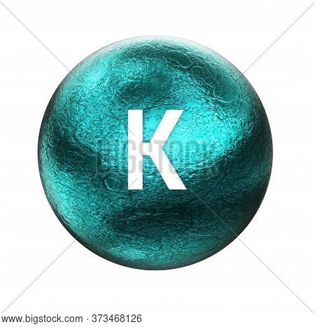 Potassium Symbol. Mineral Essential For Human Health.  3d Rendering. Mineral Icon.