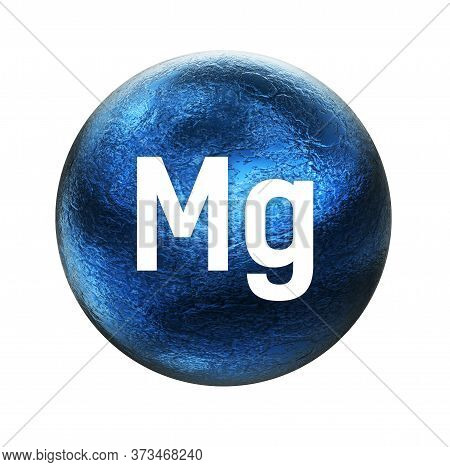 Magnesium Symbol. Mineral Essential For Human Health.  3d Rendering. Mineral Icon.